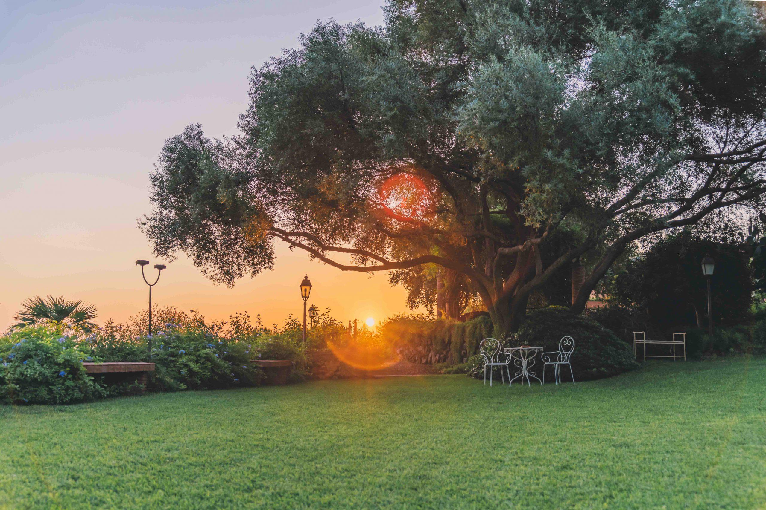 Il sole saluta ancora una volta questa terra per tornare a splendere più di prima domani. Ed è lì che dobbiamo soffermarci a guardare: al futuro radioso che ci aspetta e alle ore felici che celebrano la nascita di un nuovo amore. A Villa Musmeci le porte sono sempre aperte ai matrimoni immersi nella natura.